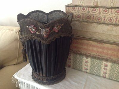 *  R are and beautiful Victorian waste basket! ribbonwork  metallic lace Chic