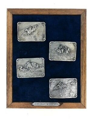 1983 Charles M Russell Pewter Buckle Set With Certificate #809 For Each Buckle