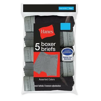 Hanes Boy's Dyed Soft Cotton Boxer Briefs 5 Pack Gray and Black Size Small (6/8)