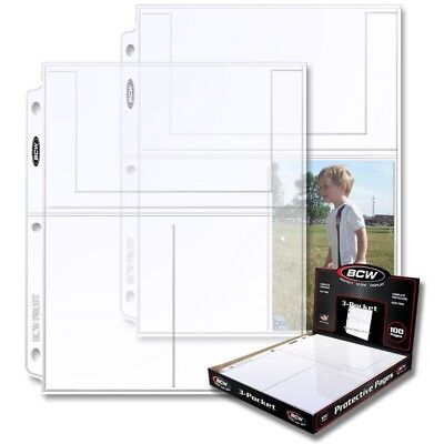 """Box of 100 BCW Pro 3-Pocket Pages 4"""" x 6"""" Pockets for Postcards and Photos"""