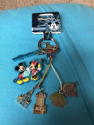 New Walt Disney World 4 Parks Metal Pvc Mickey Minnie Hanging Keychain