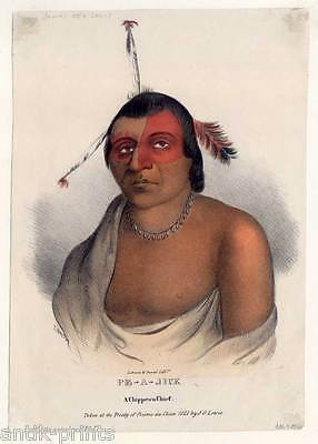 Pe-a-jick, a Chippewa Chief-Indian-Indianer - Lithographie-James Otto Lewis 1835