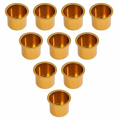 Set of 10 Gold Jumbo Aluminum Drop In Cup Holders For Poker Table and Boat