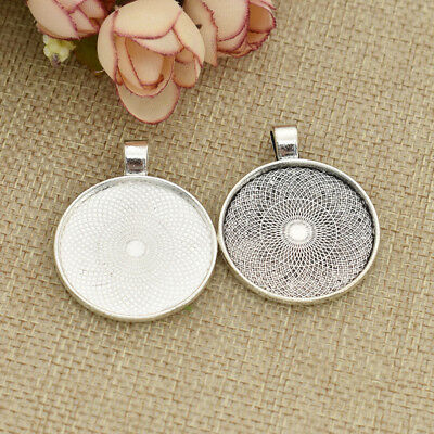 10pcs Round Necklace Pendants Base Cabochon Cameo Settings Tray Jewelry Making