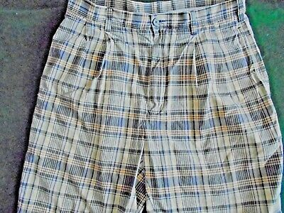 Jos. A Bank Madras Plaid  Shorts Cotton Size 34 Pleated Front EUC