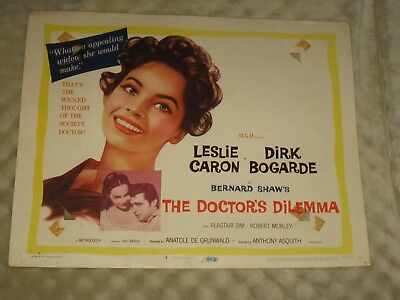 The Doctor's Dilemma original 1959 Title lobby card #1 Leslie Caron Dirk Bogarde