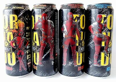 Deadpool 1-2 Tornado 4 pcs cans Energy 450ml from Russia Limited Edit + Bonus