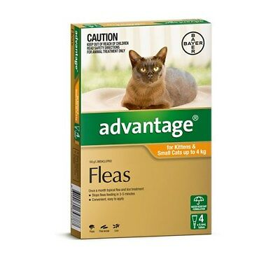 New Advantage Flea Treatment for Small Cats up to 4kg Pack of 4