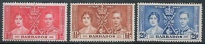 BARBADOS - 1937 Coronation of King George VI Set of 3  MH