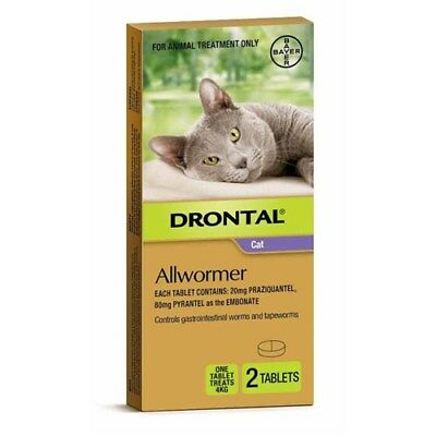 New Drontal Ellipsoid Allwormer for Cats and Kittens up to 4KG 2 Tablets