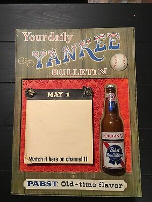 Rare Vintage PABST BLUE RIBBON  Your Daily Yankee Bulletin Sign