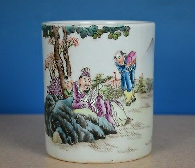 Fine Antique Chinese Famille Rose Porcelain Brush Pot Marked Master Wang Qi J339