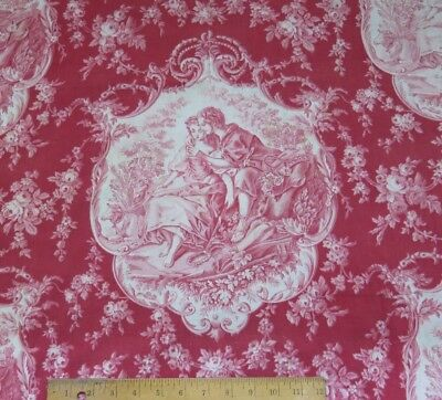 """Antique French Victorian c1870 Turkey Red Romantic Lovers Cotton Toile~42""""LX28""""W"""