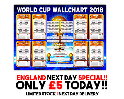 Russia World Cup Wall Chart 2018 - New Listing! Over 800 Sold! England Special!