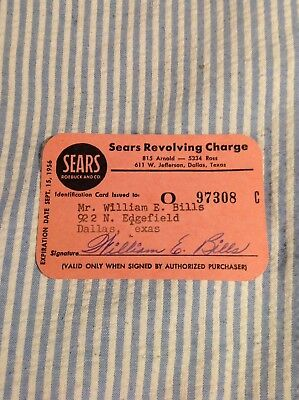 Sears Paper Credit Card- 1956- Pink
