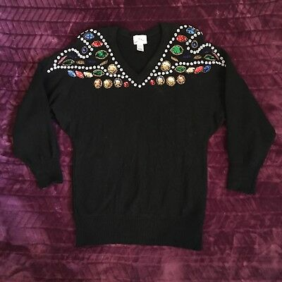 Vintage SML size large black party sequin bead ugly Christmas pullover sweater
