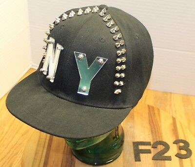 18e209e08ce New York Hat Black With Spikes Mirrored Lettering Snapback Adjustable Vgc  F23