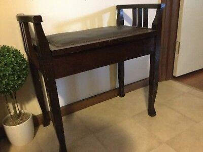 Vintage - Antique - Timber Piano Stool With Storage In Seat