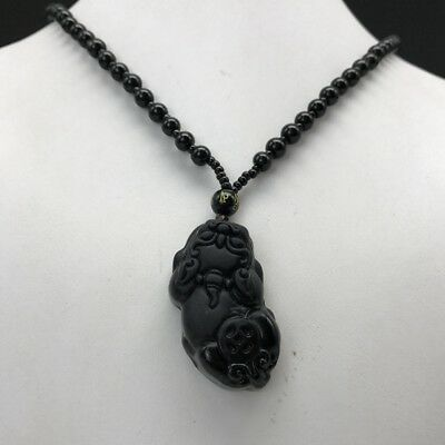 100% China's Natural Black Obsidian Hand Carved Animals Pendant