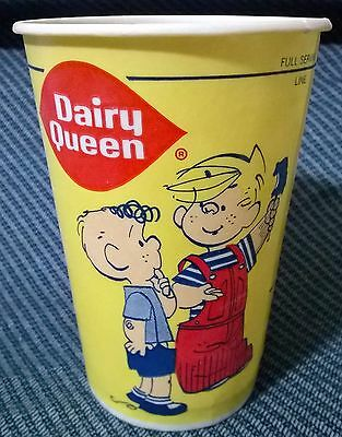 """Vintage Dairy Queen DQ Yellow 5"""" Tall Dennis the Menace Fast Food Wax Paper Cup"""