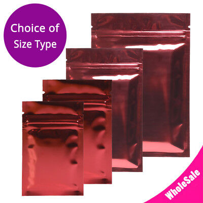 Multi-Size Both Sided Glossy Red Foil Mylar Flat Zip lock Bag Wholesale R05