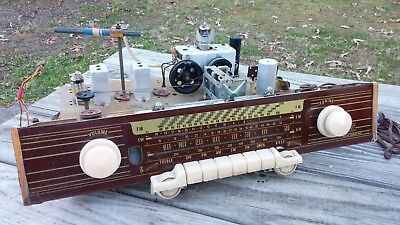 Vintage AJA Model 5842 GERMAN Tube Radio CHASSIS, Glass Face Plate,Tubes, KNOBS