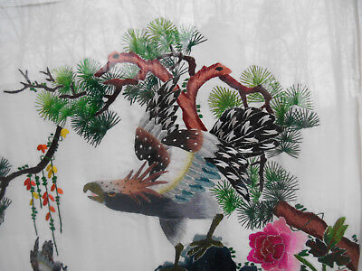 Chinese Embroidery On Silk Vintage Birds and Flowers Hand Embroidered