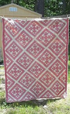 Vintage Attractive Pink and White quilt. Hand Pieced Hand Quilted Great Display