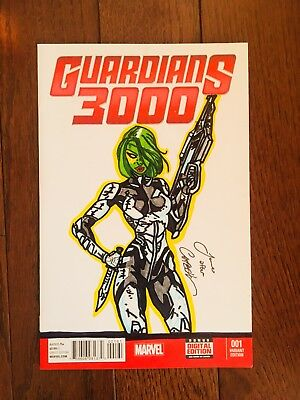 Guardians Of The Galaxy 4 J Scott Campbell Homage Drawn &Signed By James Fugate