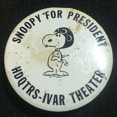 Snoopy For President HDQTRS-IVRA Theater Button Foldback Pin Peanuts Red Baron