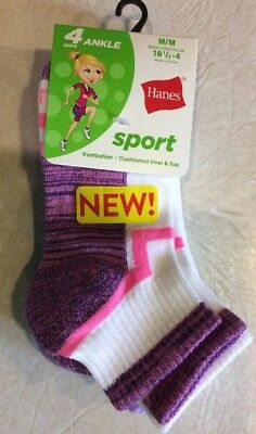 Hanes Sock Girls 4 Pairs Ankle Sport Socks Medium 10 1/2 - 4 FUN Pink Purple NWT