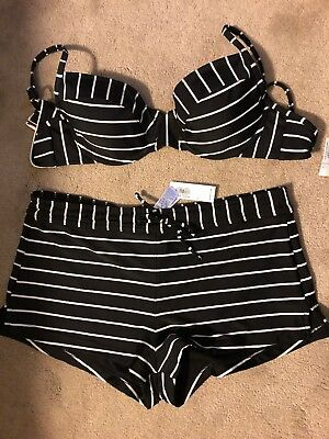 New Old Navy Black White Stripped two piece swimsuit shorts swim top L Large