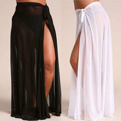 Women Bikini Cover Up Swimwear Sheer Beach Maxi Wrap Skirt Sarong Pareo Dress US