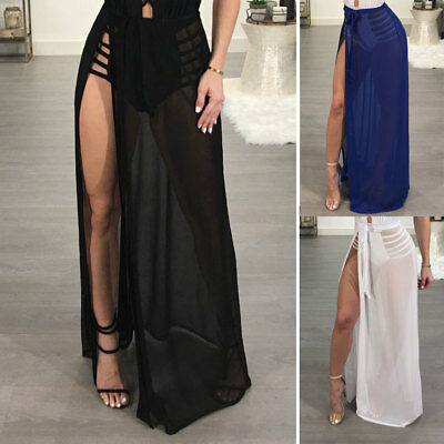 US Women Bikini Cover Up Swimwear Sheer Beach Mesh Wrap Skirt Sarong Pareo Dress