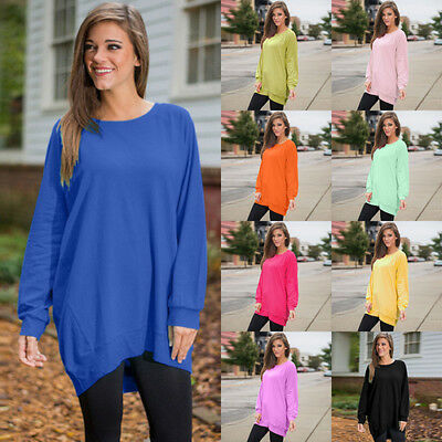 Plus Size Women Summer Long Sleeve Casual Blouse Loose Tops T Shirt Fashion New