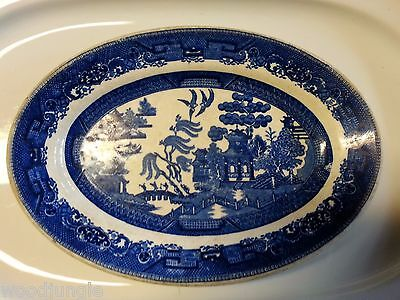 Antique John Maddock & Sons Blue Willow Platter Burley  & Co Chicago Restaurant