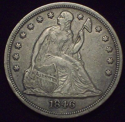 1846 Seated Liberty SILVER DOLLAR Strong Detail Tone - Authentic RARE US Coin $1