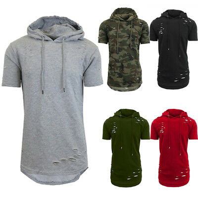 USA Stock Mens Hoodie T Shirt Casual Summer Blouse Sport Gym Sweater Tees Tops