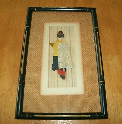 Vintage Asian Oriental Silk & Paper Geisha Doll Hand Painted -  Framed In Bamboo