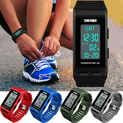 Men Women Sports Bracelet Digital Wrist Watch LED Waterproof Pedometer Calories