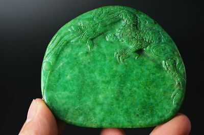Delicate Chinese old jade carved *dragon* inkstone  E69