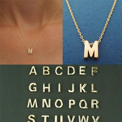 Fashion Women Gold Plated Initial Alphabet Letter A-Z Pendant Chain Bib Necklace