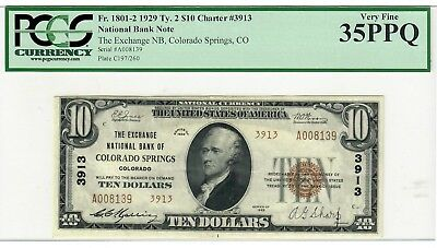 1929 T2 $10 The Exchange NB Colorado Springs, CO VERY RARE!!! Only 6 Known!