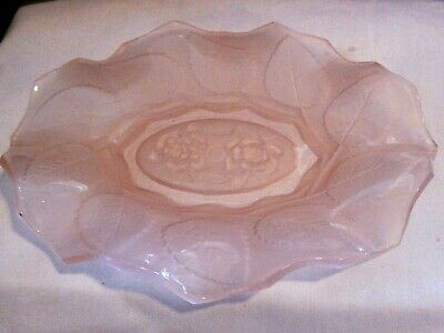 "Antique EAPG Rose Pattern Dish with Scalloped Edges Marked ""Made in England"""