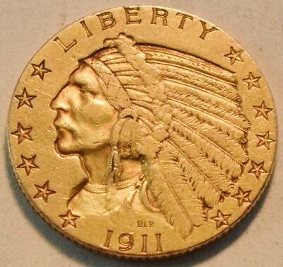 1911 S $5 Gold Indian Half Eagle, Higher Grade, Scarce Date Five Dollar Coin