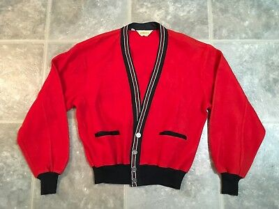 Vtg. 60s PENNEY'S super nice red/black button front cardigan sweater, sz L 44-46