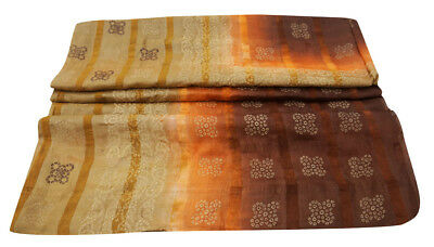 Vintage Indian Saree Pure Khadi Silk Printed Fabric Craft Bandhani Brown Sari