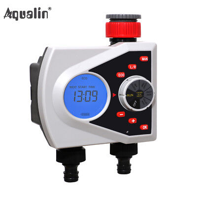 2-Outlet Garden Automatic Water Timer Digital Irrigation Controller LCD Display