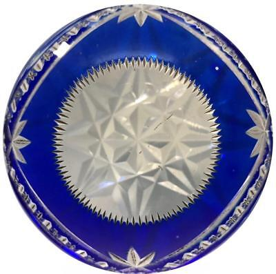 20th Cent. Val St Lambert Art Glass Paperweight Fancy Faceted Blue Flash Overlay