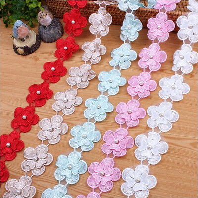 2 Yards Double layer Organza Flowers Lace handmade Trim clothing decoration